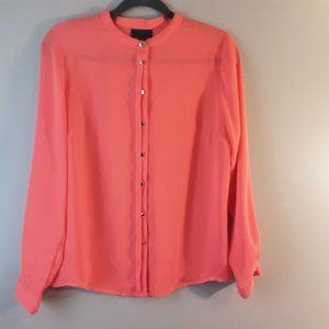 Worthington Coral Sheer Blouse | Silver Buttons, L